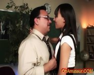 Naughty Sexy Brunette Sucking And Fucking Her Teacher - scene 3
