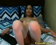 Cute Big Cock Tranny Jerks Off Her Dick - scene 4