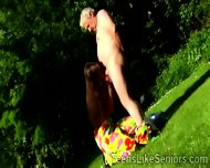 Beautiful Brunette Teen Seduces A Lucky Grandpa Outdoors - scene 3