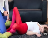 Horny Lezzies In Pantyhose Enjoying Strap - scene 10