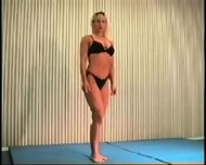 Mixed Wrestling Fbb Christine Fetzer Bodybuilder Scissors - scene 2