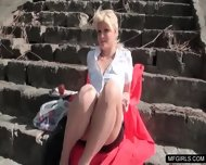 Busty Lady Taste A Fat Cock During Lunchbreak In Public - scene 1