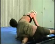 Mixed Wrestling Fbb Christine Fetzer Bodybuilder Scissors Part 2 - scene 9