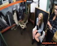 Horny Lesbian Couple Share A Dick In A Pawnshop To Earn Cash - scene 3