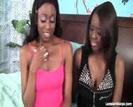 Gorgeous Black Lesbians Tongue Fuck Each Other - scene 1