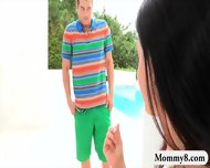 Naughty Milf India Summer Threeway Session Near The Pool - scene 6
