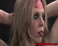 Blonde Sub Restrained In Stocks - scene 6