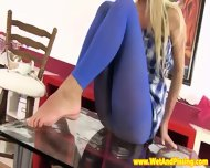 Beautiful Pissing Blonde In Sexy Nylons - scene 4