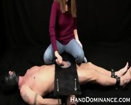 Mean Amateur Femdom Milks Submissive Guy - scene 1