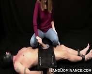 Mean Amateur Femdom Milks Submissive Guy - scene 2