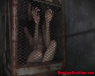 Caged Sub Gets Shackled And Toyed - scene 2