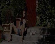 Brunett And Outdoor Fingering Pussy - scene 3