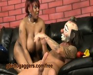 Chubby Black Slut Deepthroats A White Clown - scene 1