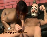 Chubby Black Slut Deepthroats A White Clown - scene 3