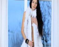 Killer Brunette Woman In White Heels - scene 1