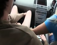 Horny Glamours Sucking Dick In Car - scene 3