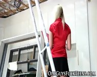 Teen Blonde Swallows Old - scene 3