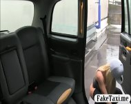 Skanky Big Boobs Customer Fucked With Fake Driver In The Cab - scene 1