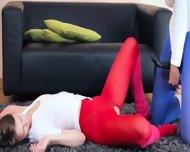 Graceful Lezzies In Pantyhose Enjoying Strap - scene 9