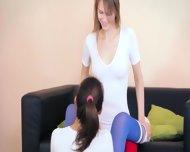 Graceful Lezzies In Pantyhose Enjoying Strap - scene 3