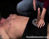 Femdom Handjob In Bondage Mechanism - scene 5