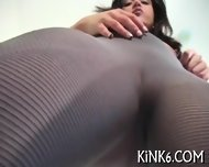Tiny Slit In Fancy Pantyhose - scene 6