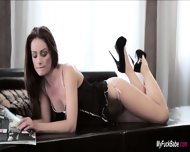 Sophie Lynx Surprised By Her Lover With His Dick On Couch - scene 1