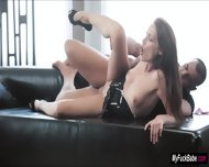 Sophie Lynx Surprised By Her Lover With His Dick On Couch - scene 6