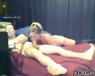 Blonde Slut With Black Stockings Gives Man A Long Blowjob - scene 11
