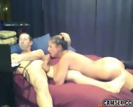 Blonde Slut With Black Stockings Gives Man A Long Blowjob - scene 2