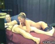 Blonde Slut With Black Stockings Gives Man A Long Blowjob - scene 4