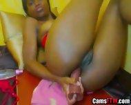 Ebony Chick Creamy Pussy Toying 586 - scene 1