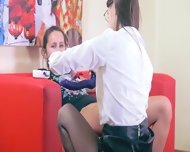 Two Horny Girls Having Havingsex On Red Couch - scene 3