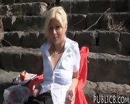 Sexy Amateur Blonde Eurobabe Pussy Fucked In The Park - scene 1