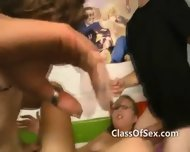 Teen Girls Blow Cool Guys At College - scene 10