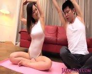 Tiny Busty Japanese Yoga Babe Tittyfucked - scene 3