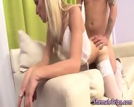 Stockings Shemale Jizzed - scene 7
