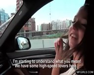 Hot Brunette Teen Swallows Cum For Money In A Car - scene 2