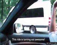 Hot Brunette Teen Swallows Cum For Money In A Car - scene 4