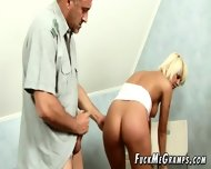 Aged Guy Plays Pervert Scene With Young Blonde - scene 9