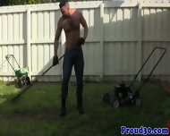 Mature Daddy Bear Bangs His Tattooed Gardener - scene 4