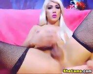 Blonde Shemale Webcam With Dildo - scene 9