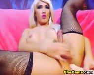 Blonde Shemale Webcam With Dildo - scene 11