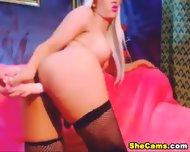 Blonde Shemale Webcam With Dildo - scene 3