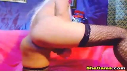 Blonde Shemale Webcam With Dildo - scene 4
