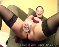 Asian Petite Trains Her Little Pussy With A Huge Dildo - scene 3