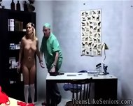 Innocent Blonde Teen Kneels To Suck Her Old Doctors Cock - scene 2