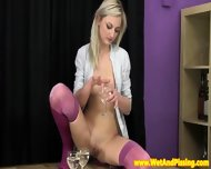 Urinedrinking Blonde Beauty In Hot Longsocks - scene 3