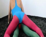 Hairy Girl4girl In Nylon Pants Loving - scene 3