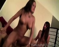 Big Boobed Nanny Learns To Ride From Her Mommy In 3some - scene 3